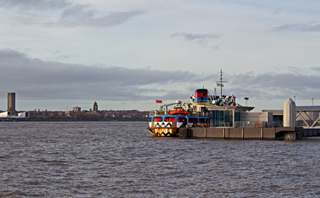 dazzle: LIVERPOOL UK, DECEMBER 16TH 2015. The Mersey Ferry in the eye-catching dazzle design in honour of the patterns that were first used on vessels in World War One. Editorial