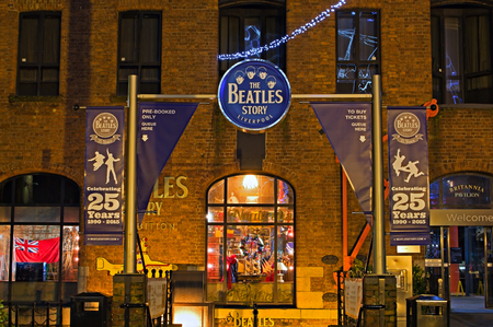 the beatles: LIVERPOOL UK, DECEMBER 16TH 2015. Entrance to The Beatles Story exhibition, a popular tourist attraction at the Abert Dock l Liverpool UK.