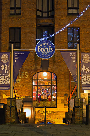 LIVERPOOL UK, DECEMBER 16TH 2015. Entrance to The Beatles Story exhibition, a popular tourist attraction at the Abert Dock l Liverpool UK.