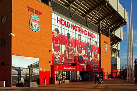 LIVERPOOL UK JANUARY 8TH 2016. The Kop entrance to Liverpool Football Club Stadium. Liverpool UK.