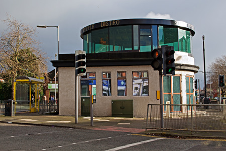 mentioned: LIVERPOOL 12TH JANUARY 2016. Shelter in the middle of the roundabout, mentioned in The Beatles song Penny Lane. LIVERPOOL UK