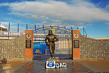 premiership: LIVERPOOL UK JANUARY 8TH 2016. Dixie Dean statue and Wall of Fame in front of the Everton Football Club Stadium. Liverpool UK.