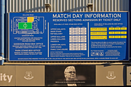 premiership: LIVERPOOL UK JANUARY 8TH 2016. Goodison Park Stadium, home of Everton Football Club. Liverpool UK. Editorial