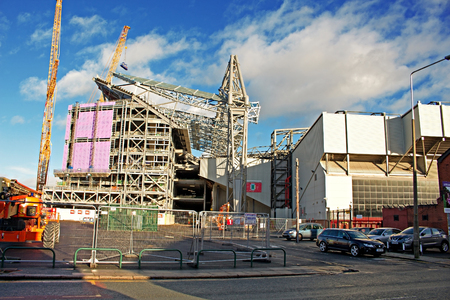 LIVERPOOL UK JANUARY 8TH 2016. Construction of a new stand, part of a 260 million redevelopment of Liverpool Football Club Stadium. Liverpool UK.