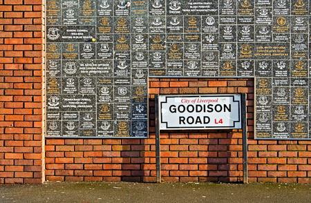 LIVERPOOL UK JANUARY 8TH 2016. Goodison Road Sign and wall of fame at Goodison Park Stadium, home of Everton Football Club. Liverpool UK.