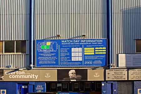 LIVERPOOL UK JANUARY 8TH 2016. Goodison Park Stadium, home of Everton Football Club. Liverpool UK. Editorial