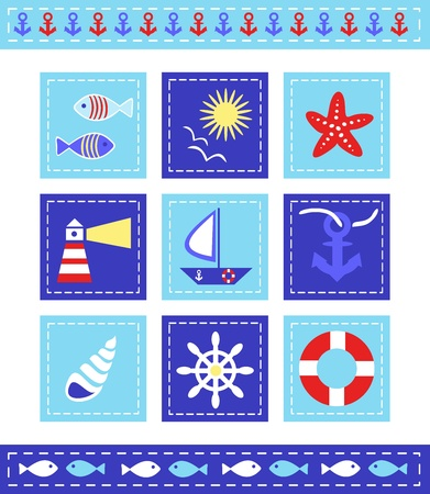 scrapbook elements, maritime theme Illustration