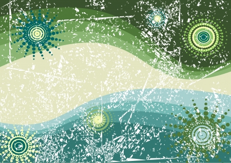 shabby retro background, green and blue vector illustration