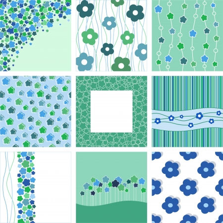 set of nine abstract floral backgrounds  blue and green hues