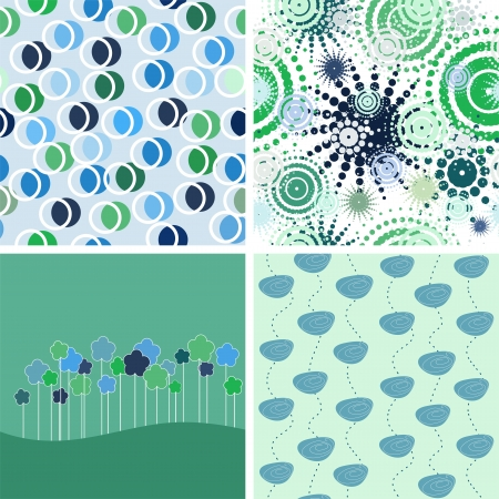 set of abstract backgrounds. green and blue