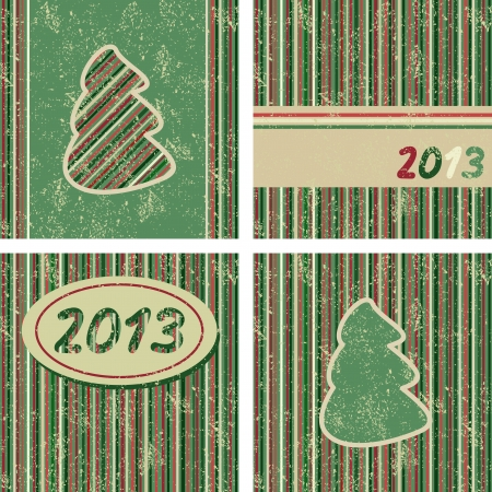 Set of Christmas and New Year cards, Vector illustration