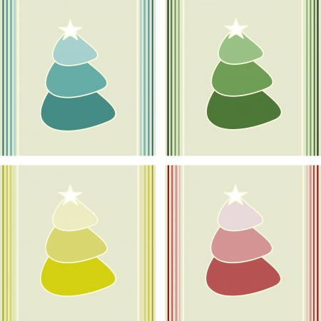 christmas tree cards Vector