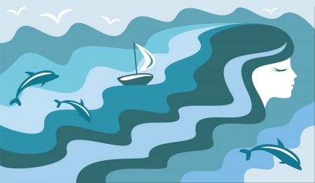 A girl who dreams of the sea Illustration