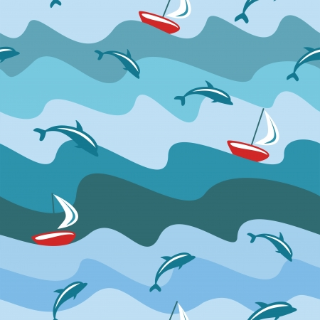 Seamless sea background, illustration  Vector
