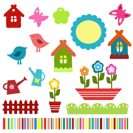 colorful child scrapbook elements Vector