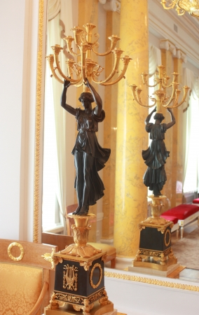 A luxurious candlestick in the palace, 18th century, St  Petersburg