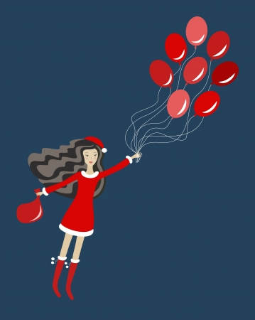 Santa girl with balloons, illustration Vector