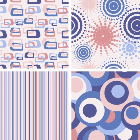 set of abstract seamless lilac patterns
