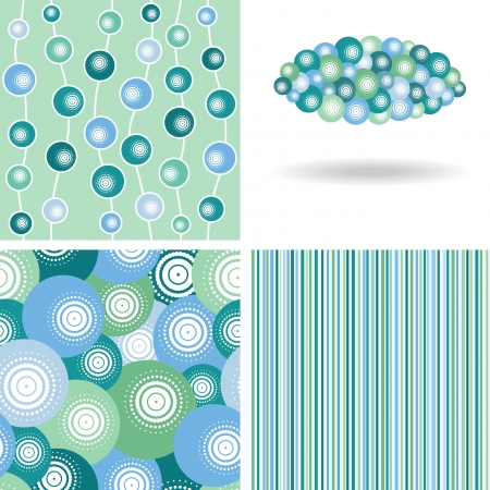 set of winter seamless patterns and decor elements Illustration