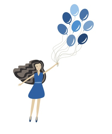 girl with balloons, vector illustration