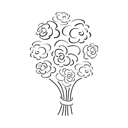 outline rose bouquet, vector illustration