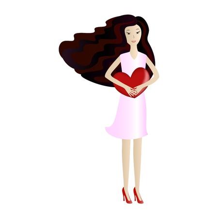 girl holding heart, vector illustration Stock Vector - 17310235