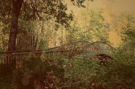 retro bridge sepia card Stock Photo