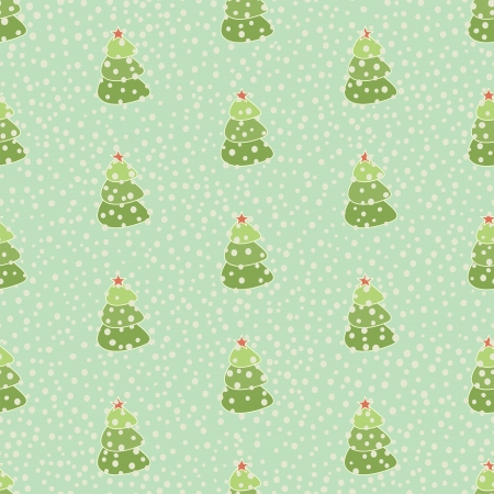 christmas tree retro seamless background, vector illustration