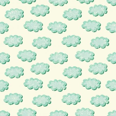 clouds shabby seamless pattern, vector illustration Illustration