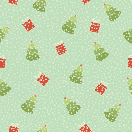 christmas tree gift seamless background, vector illustration Vector