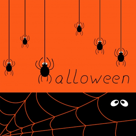 halloween spider card, vector illustration Vector