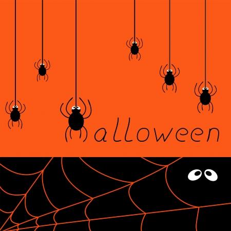 halloween spider card, vector illustration Illustration
