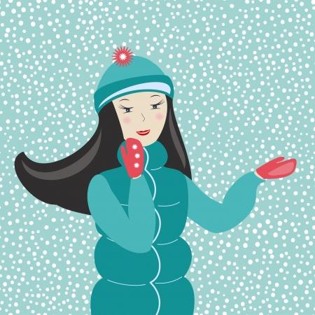 wonderment:  beautiful winter girl, vector illustration Illustration