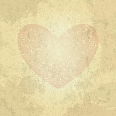 retro shabby heart, illustration