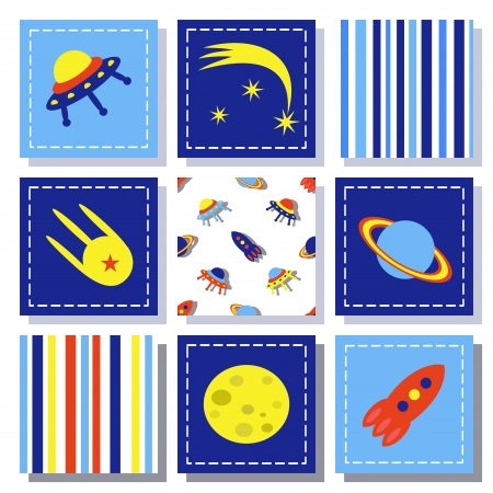 set of child cosmos decor elements, vector illustration Vector