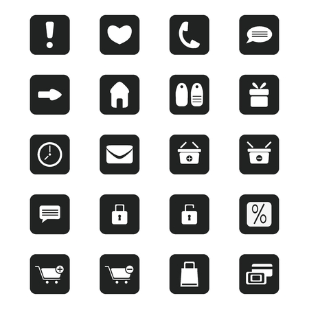 black shopping icons set, vector illustration Vector