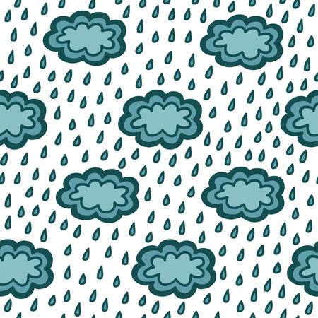 simple blue clouds seamless pattern, vector illustration Illustration