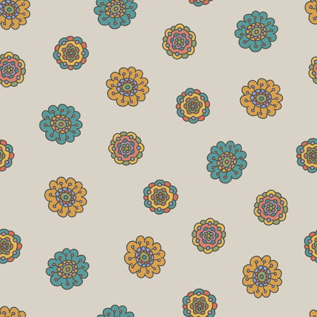 retro doodle flower seamless pattern, vector illustration