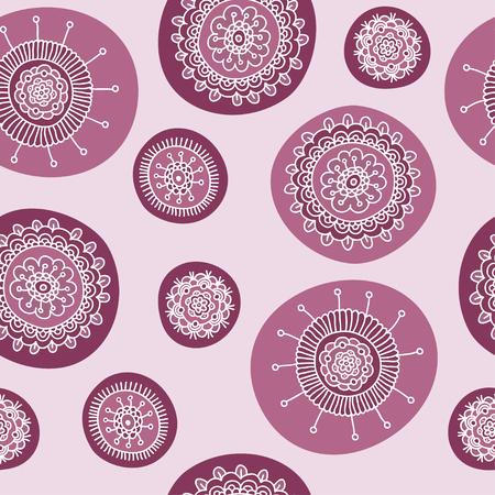 seamless doodle flower pink pattern, vector illustration Illustration