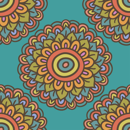colorful simple doodle flower pattern, hand drawn vector illustration