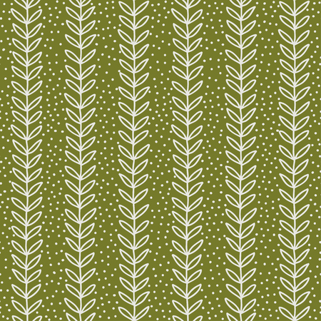 simple green leaf seamless pattern, hand drawn vector illustration