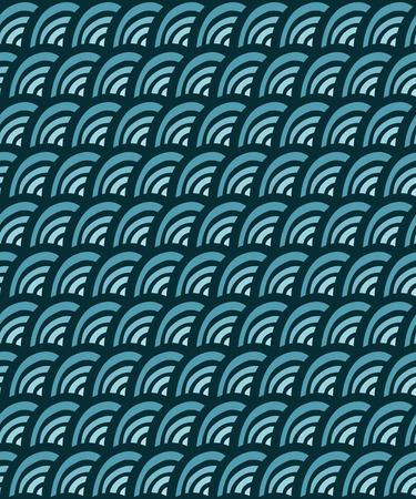 blue waves doodle seamless pattern, illustration