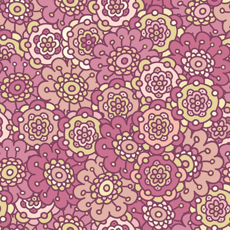 pink retro doodle floral seamless pattern, hand drawn vector illustration