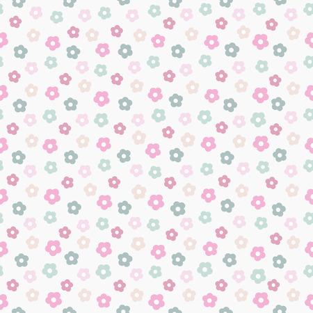 simple cute pastel floral pattern, vector illustration Illustration