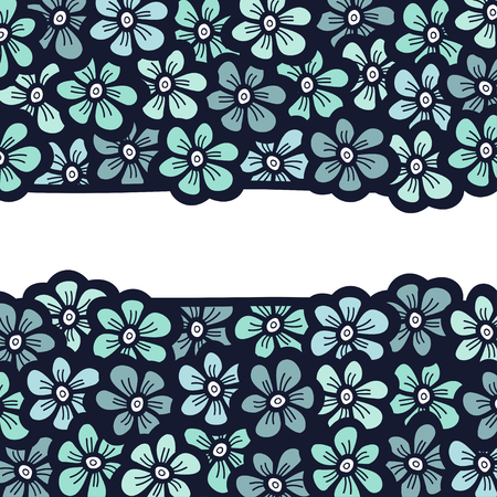 Beautiful blue flower blossom banner. Wedding invitation.Hand drawn frame. Vector illustration