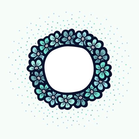 Blue flower cute frame. Beautiful wedding invitation. simple doodle card. Vector illustration. Illustration