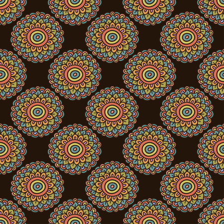 brown wallpaper: Colorful seamless flower pattern. Boho style doodle background. Brown wallpaper. Vector illustration.