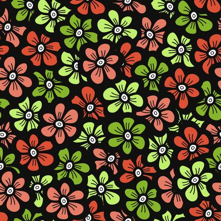 orange blossom: Green and orange doodle flower pattern. Seamless cute blossom background. Spring wallpaper. Vector illustration.