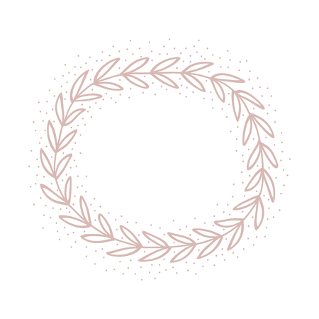 Hand drawn pink wreath. Pastel cute card. Romantic  invitation. Vector illustration. Illustration