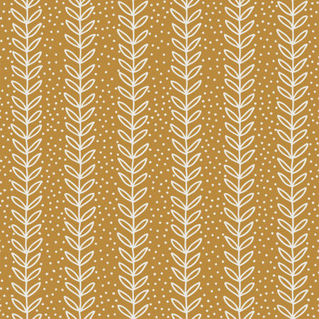 Simple terracotta leaf pattern. Seamless eco background. Hand drawn wallpaper. Vector illustration. Illustration